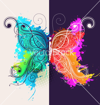Free butterfly made of floral vector - Free vector #255079