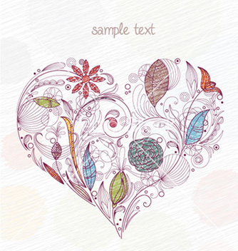 Free doodles with heart made of floral vector - vector #255439 gratis