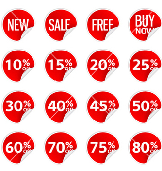 Free discount stickers set vector - vector #255469 gratis