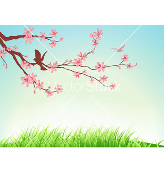 Free birds with floral vector - Free vector #255949