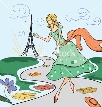 Free paris doodles with lady vector - Free vector #256159