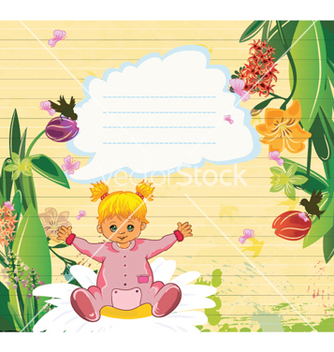 Free little girl with floral vector - vector #256799 gratis