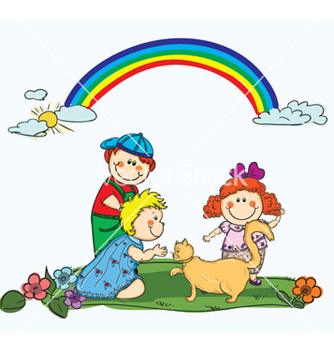 Free kids playing with a cat vector - Free vector #257519