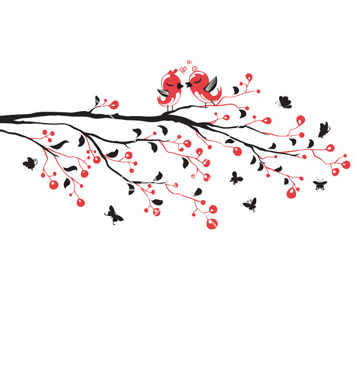 Free love birds on branch vector - Free vector #257959
