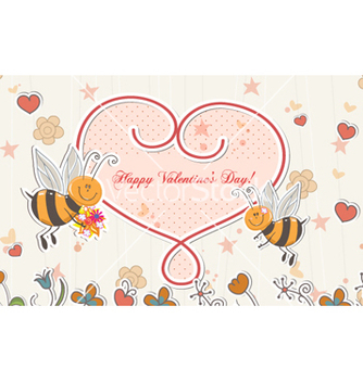 Free bees with hearts vector - vector gratuit #257969