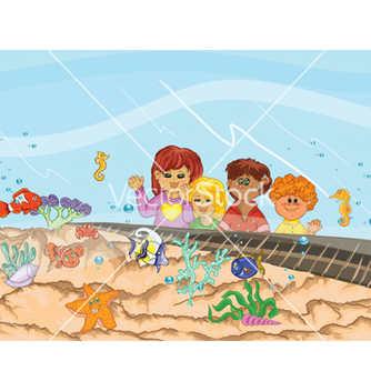 Free kids at the aquarium vector - vector gratuit #258229