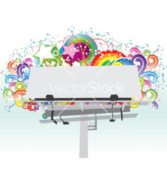 Free billboard with floral vector - vector gratuit #258739
