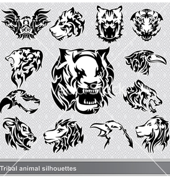 Free tribal animal silhouettes set vector - Free vector #258809