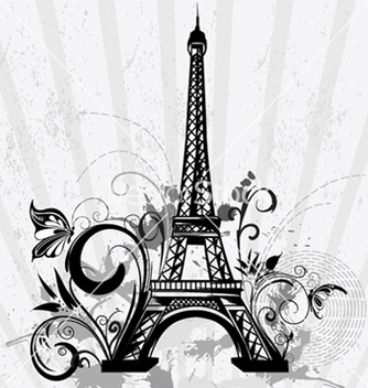 Free eiffel tower with floral and grunge vector - Kostenloses vector #258929