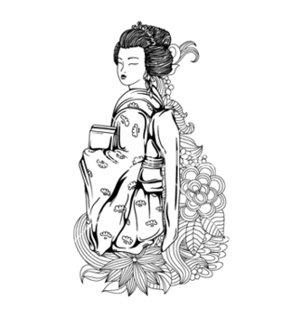 Free geisha with floral vector - Free vector #259219