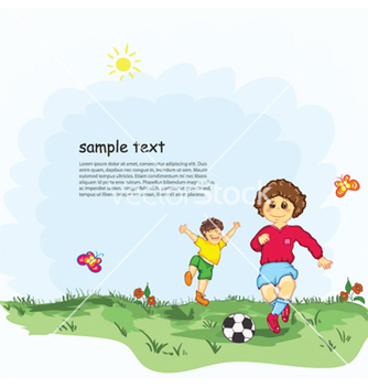Free kids playing soccer vector - бесплатный vector #259269