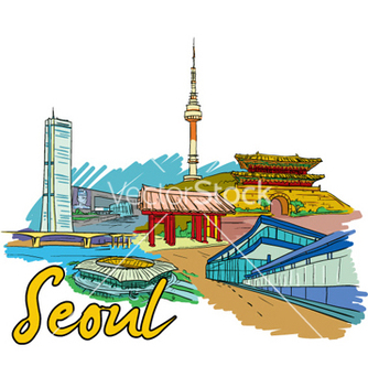 Free seoul doodles vector - Free vector #259839