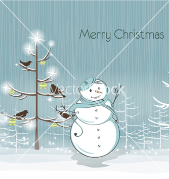 Free snowman with birds vector - vector gratuit #260249