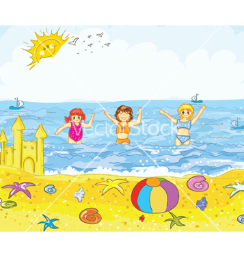 Free kids playing on the beach vector - Free vector #260399
