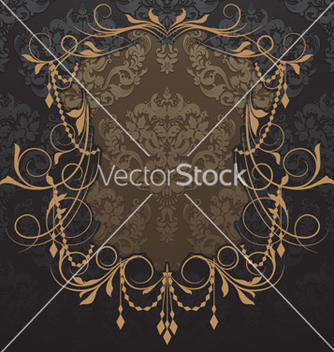 Free vintage label with damask background vector - Free vector #260609