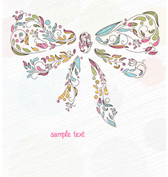 Free doodles background with bow made of floral vector - Free vector #260799