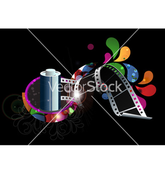 Free film strip with colorful swirls vector - бесплатный vector #261189