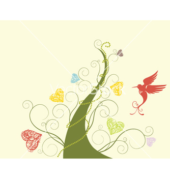 Free abstract tree with bird vector - Free vector #261629