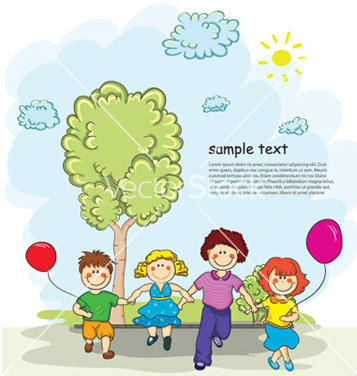 Free kids playing vector - Free vector #261639
