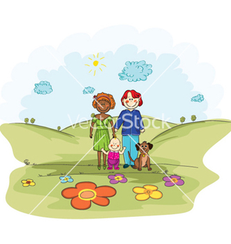 Free cartoon background with family vector - Kostenloses vector #262039