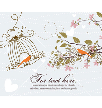 Free love birds with floral vector - vector #262159 gratis