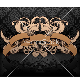 Free vintage emblem with damask background vector - Free vector #262289