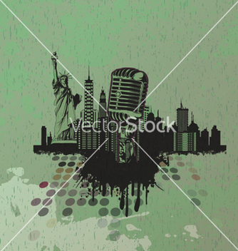 Free microphone with urban background vector - Kostenloses vector #262869