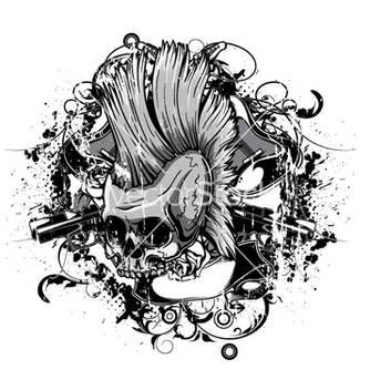 Free skull with grunge vector - Free vector #263949