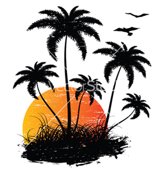 Free vintage summer background with palm trees and vector - бесплатный vector #264099