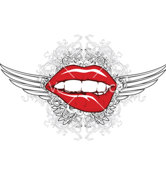 Free mouth with floral and wings vector - Kostenloses vector #264329