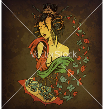 Free geisha on grunge background vector - Free vector #264829