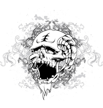 Free skull with floral and grunge vector - Kostenloses vector #265179