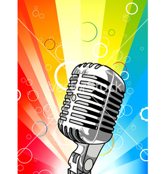 Free microphone with colorful rays background vector - Free vector #265559