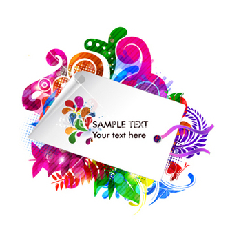 Free shopping tag with colorful floral vector - vector gratuit #265979
