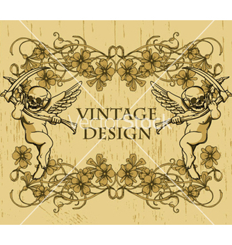 Free grunge floral frame with angels vector - Free vector #266379
