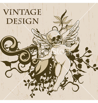 Free grunge floral background with angel vector - Free vector #266389