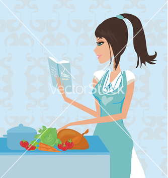 Free beautiful lady cooking chicken vector - vector gratuit #266689