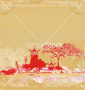 Free old paper with asian landscape vector - vector gratuit #266699