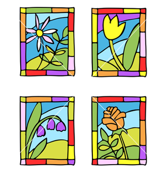Free spring flower stained glass vector - vector gratuit #267089
