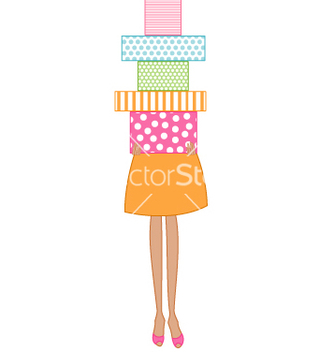 Free woman holding presents vector - бесплатный vector #267269