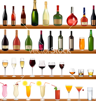 Free bottles and glasses vector - бесплатный vector #267599