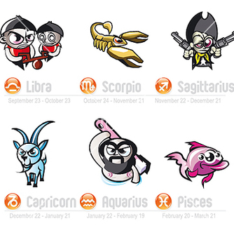 Free trendy zodiac signs part two vector - vector #270209 gratis