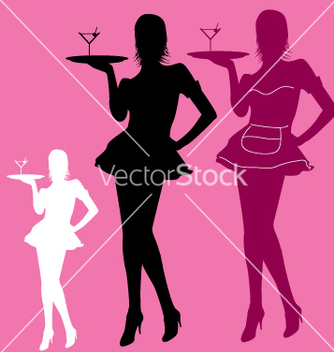 Free retro waitress vector - Free vector #270369