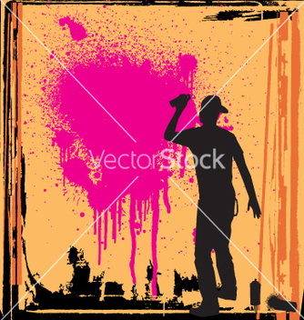 Free spray guy on wall vector - vector gratuit #270479