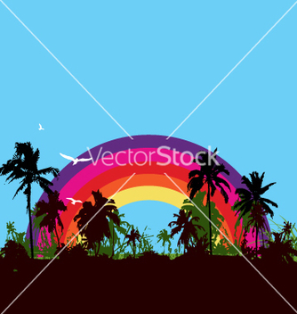 Free tropical paradise vector - Free vector #270999