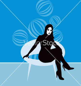 Free lady on retro chair vector - Free vector #271209