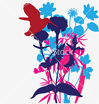 Free designer flowers with tropical bird vector - Free vector #271419