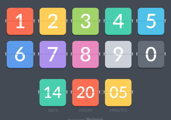Free Flat Number Counter Vector Set - Kostenloses vector #272379