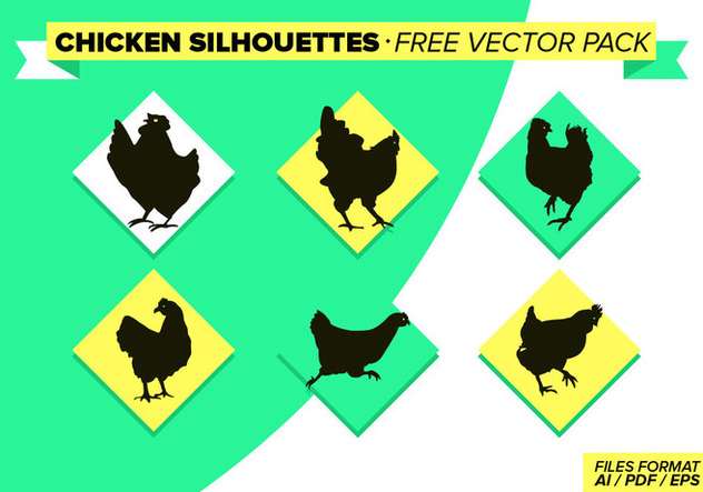 Chicken Slihouettes Free Vector Pack - Free vector #272649