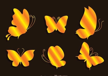 Gold Butterflies Icons - vector gratuit #272739